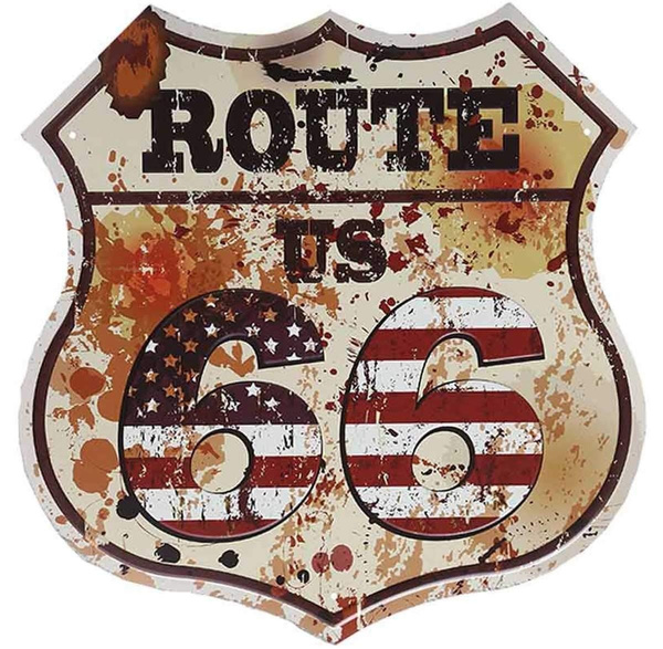 Route 66 Sign Vintage Road Signs with Polygon Metal Tin Sign for Wall Decor Art