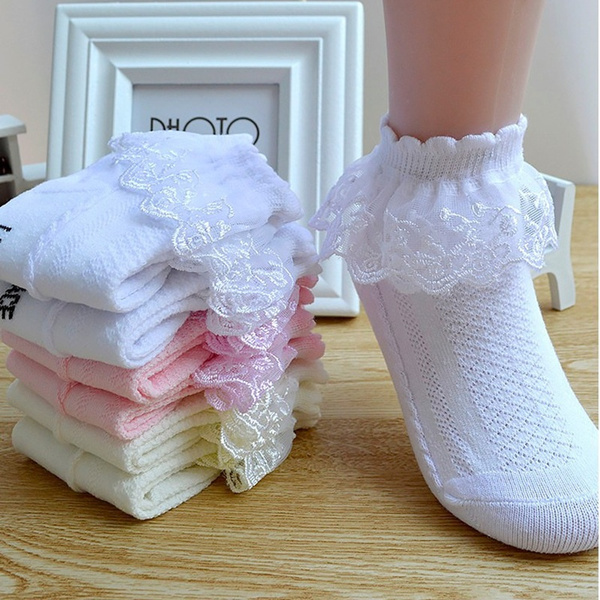 NEW Cotton Kids Baby Ankle Socks Lace Frilly Girls Socks Socks Breathable