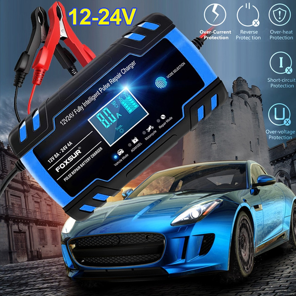 Car Battery Charger, 12V24V 8Amp Intelligent Automatic Battery ChargerMaintainer Delivers 3 Stage Charging, with LCD Screen and Have 6 Charging