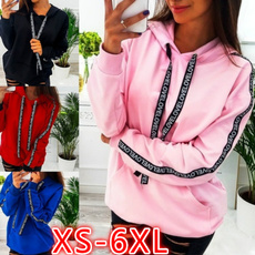 hooded, Sleeve, letter print, Tops