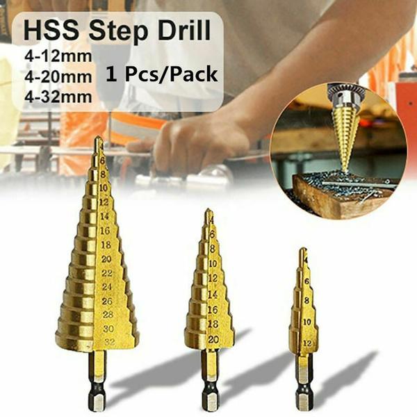 1pcs 4-12mm HSS Steel Step Cone Drill Titanium Bit Hole Cutter Set Tool