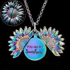 rainbow, Jewelry, Sunflowers, locketnecklace