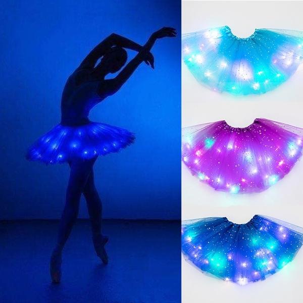 KIDS GIRLS LED Light Star Sequin TUTU SKIRTS Fancy Skirts Tulle Dress Up Party