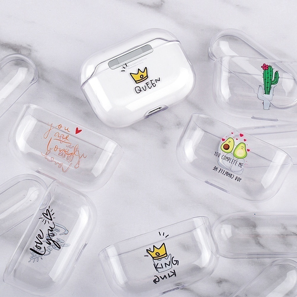 Luxury Couple Crown Style Case For Apple Airpods Pro 1 2 Cartoon Patterned Transparent Hard Pc Airpods Pro Airpods Pro Bluetooth Headphone Cover Apple Airpods Pro Charging Box Skin Shockproof Wish