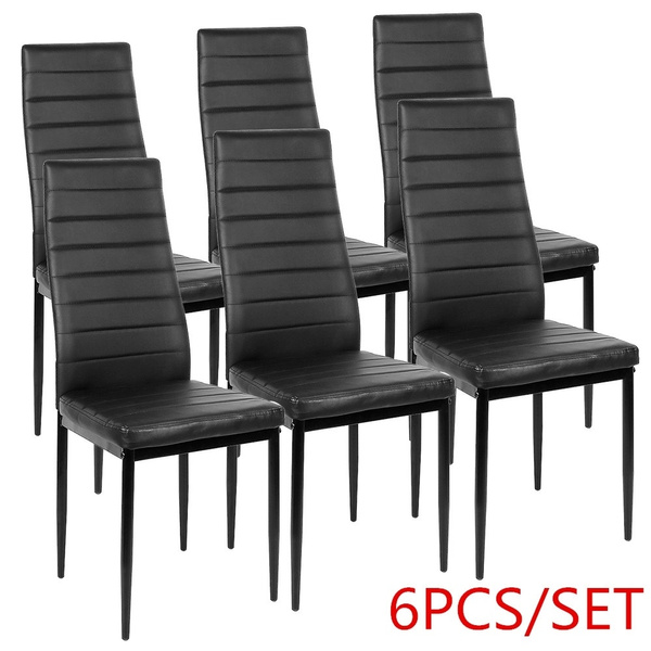 6PCS NEW Striped Dining Chairs Stool Chair Leisure Stool High Backrest  Dining Room Kitchen Breakfast Chair FR