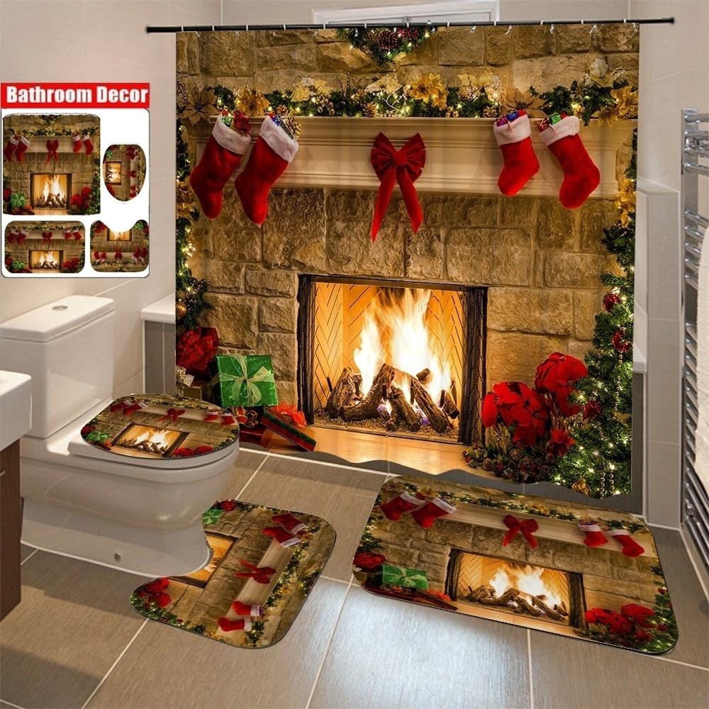 Chrismas Fireplace Shower Curtain Bath Rug Toilet Seat Cover Bathroom Set Decor