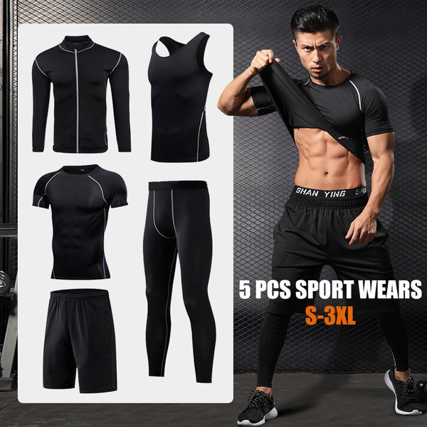 Mens Tracksuits Sets Sports Gym Fitness Clothing Set Quick Dry Large Size Jogging Running T-Shirt and Shorts Workout Sportswear