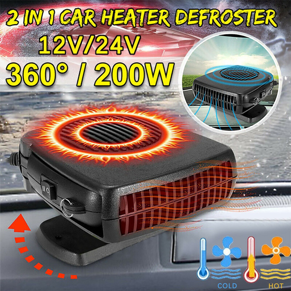 2 in 1 12V 200W Auto Car Heater Portable Car Heater Heating Fan with Swing-Out Handle Cooling Fan 3-Outlet Defrosts Defogger