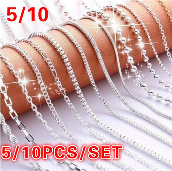 5 10pcs Women Fashion Clavicle Chain 10 Styles Silver Pendant Necklace Chains Clasps Link Necklace Set Wish
