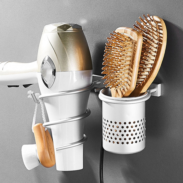 wall-mounted-hair-dryer-storage-rack-in-bathroom-metal-aluminum-material by wish