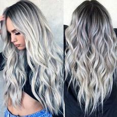 wig, Gray, longwavywig, sideparthairwig