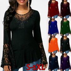 blouse, Plus Size, Lace, long sleeved shirt
