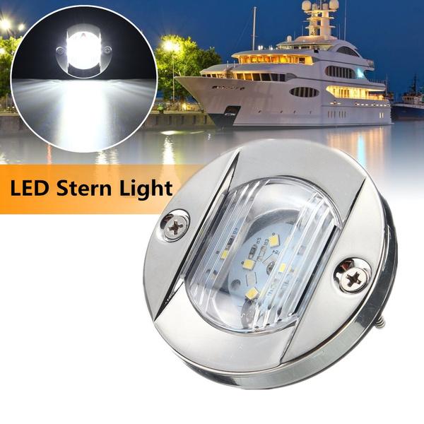 Marine Boat Transom Stainless Steel Anchor Stern Light Waterproof Warm White