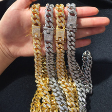 cubanchainnecklace, Chain Necklace, DIAMOND, Jewelry
