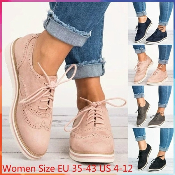 Leather Oxford Shoes for Women Round Toe Lace-Up Casual Shoes Spring and Autumn Flat Loafers Shoes