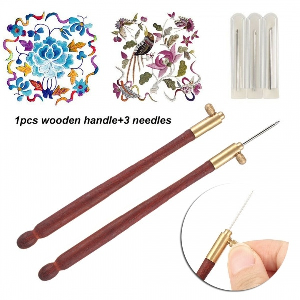 Tambour Hook with 3 Needles 70 100-120 Embroidery Beading Crochet Set Tool Kit+