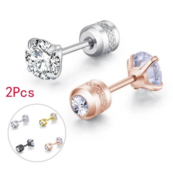 Steel, DIAMOND, Men Earrings, Jewelry