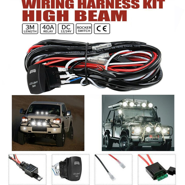 LED Wiring Loom Harness Kit One-To-Two Universal Driving light Bar 24V 40A Relay