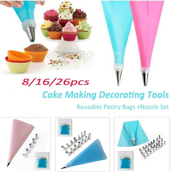 24 Nozzle Set Cake Decorating Tools Blue Silicone Pastry Bag Tips 26 PCS//Set Kitchen DIY Icing Piping Cream Reusable Pastry Bags
