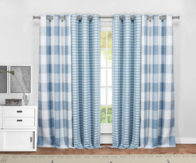 Blues, funnyshowercurtain, plaid, grommetcurtain