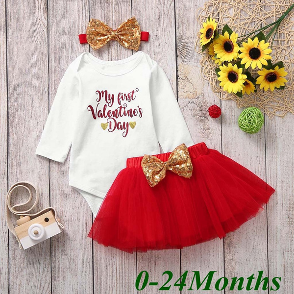 My First Valentine/'s Day Infant Baby Girl Romper Tops Tutu Skirt Outfits Clothes