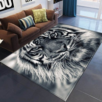 3d Large Tiger Cat Skull Wolf Area Rug Carpets Mats Floor