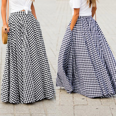 long skirt, Plus Size, pleated dress, looseskirt