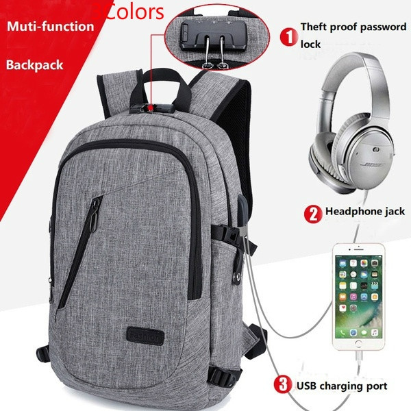 Anti Theft School Backpack Travel Water Resistant Bookbag with USB Charging Port