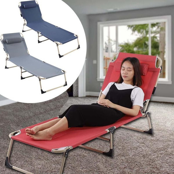 Folding Sun Lounger Recliner Chair Portable Reclining Outdoor Garden Seat Trail | Wish