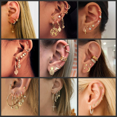 Star, gold, boucle, Stud Earring