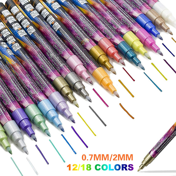 Porcelain Glass 15 Colours Acrylic Metallic Marker Pens Paint Pen for Rock Painting Wood Card Making and DIY