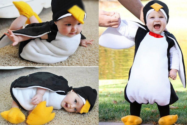 Infant Baby Boys Girls Cosplay Cute Cartoon Penguin Romper With Footwear Outfits