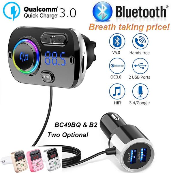 Hands-Free Calling Dual US B Port Adjustable Seven-Color LED Lights QC3.0 Fast Charging with Voltage Detection Car Charger Bluetooth Car Fm Transmitter