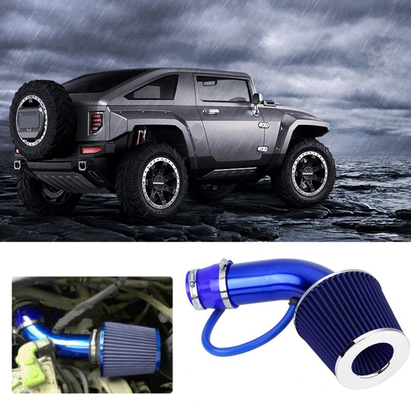 blue 76mm 3 Inch Universal Performance Car Cold Air Intake Turbo Filter Aluminum Automotive Air filter Induction Flow Hose Pipe Kit