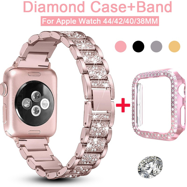 Bling Diamond Stainless Steel Watch Band with Bling Diamond Hard PC Watch Protective  Case For Apple iWatch Series 5/ 4/ 3/ 2/ 1 44MM 42MM 40MM 38MM | Wish