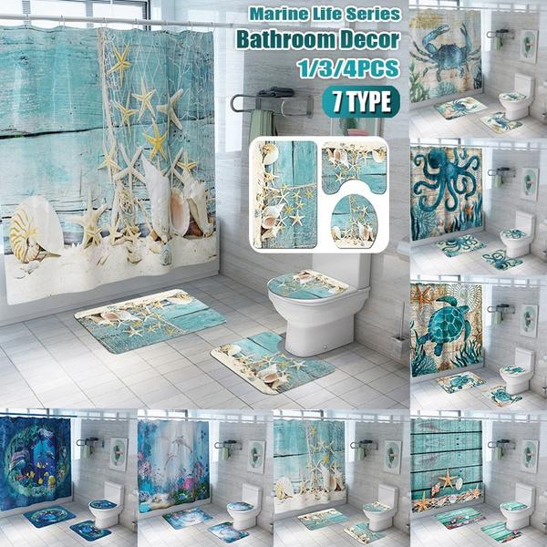 1 3 4 Pcs Bathroom Decor Set Ocean Dolphin Starfish Print