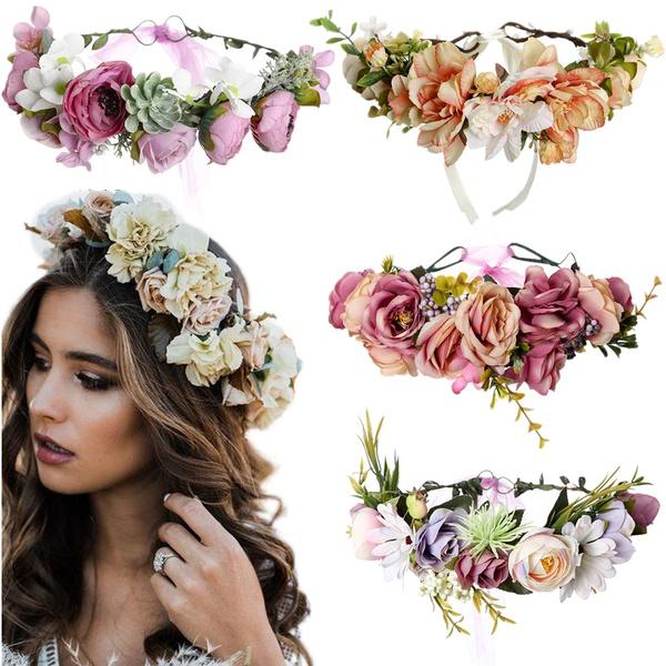 Beach Headwear Flower Hairband Floral Garland Wedding Bride Crown Headband