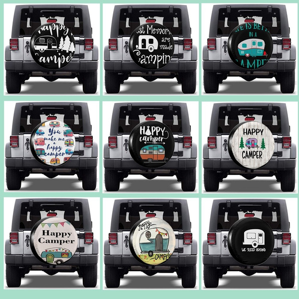 SUV and Many Vehicle 14 15 16 17 Happy Camper Camping Spare Wheel Tire Cover Waterproof Dust-Proof Fit for Trailer RV