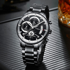 Steel, quartz, chronographwatch, Casual Watches