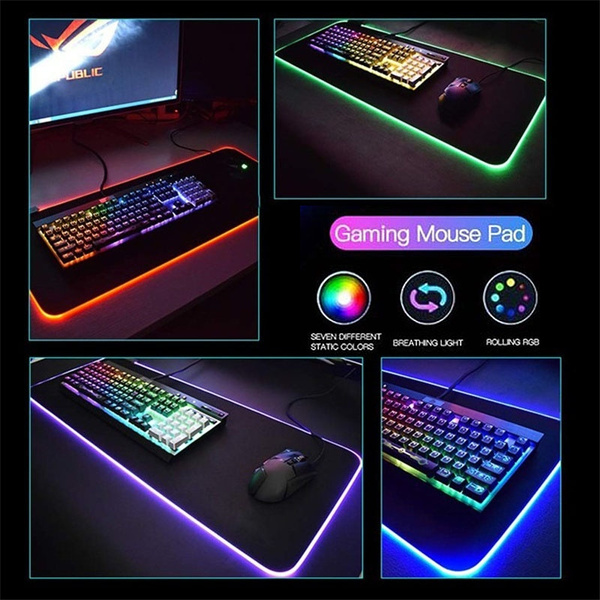 Large RGB Colorful LED Lighting Gaming Mouse Pad Mat for PC Laptop