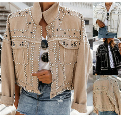 motorcyclejacket, Plus Size, lapel, denim jacket