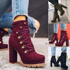 ankle boots, Fashion, thickheel, Lace