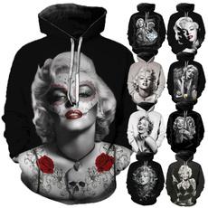 3dprintsweatshirt, Sweatshirts, marilynmonroehoodie, Pullovers