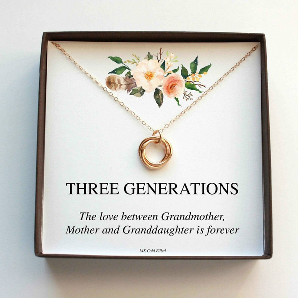 Three Generations Necklace Gift For Mom Grandma Daughter