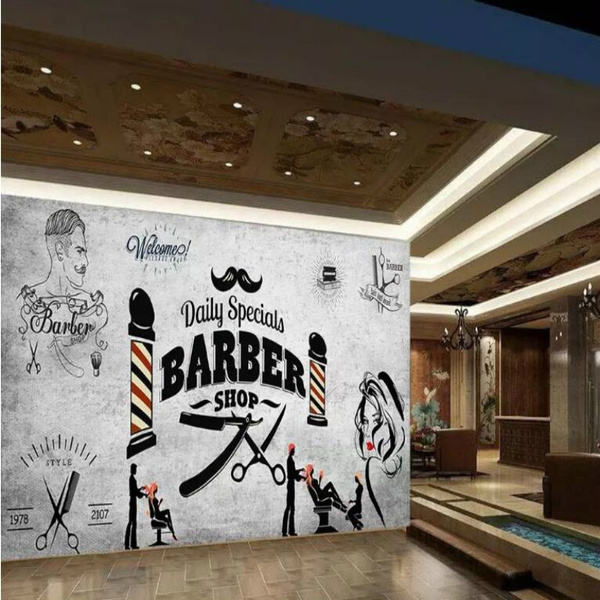 Retro Hair Salon Background Wallpaper Mural For Hairdressing Barber Shop Background Wall Decor Modern Wallpapers 3d Wall Paper Wish