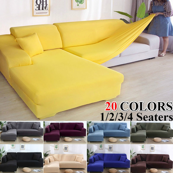 Solid Color Corner Sofa Covers For