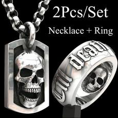 Steel, skullnecklace, Goth, Jewelry