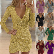 patydres, Necks, sequinbodycondres, Long Sleeve