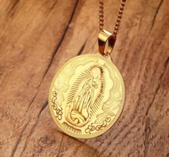 virginmarynecklace, Men  Necklace, steelnecklace, Jewelry