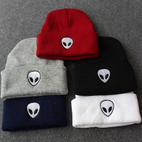 Comfortable Unique Charming Winter Warm Unisex Casual Alien Head Embroidered Plain Beanie Street Knitted Hats Black